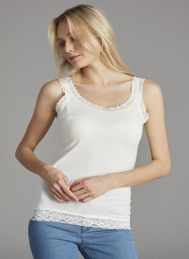 Penti Kadın Kırık Beyaz Basic Lace Atlet PHNKXFIL19SK Beyaz